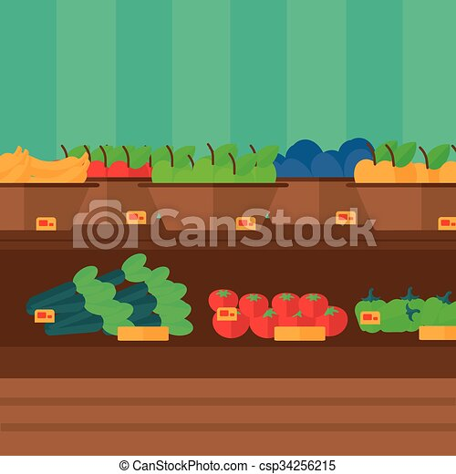 Background of vegetables and fruits on shelves in supermarket. - csp34256215