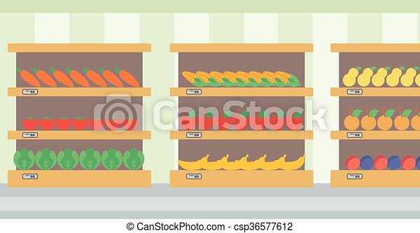 Background of vegetables and fruits on shelves. - csp36577612