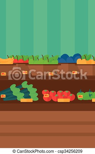 Background of vegetables and fruits on shelves in supermarket. - csp34256209