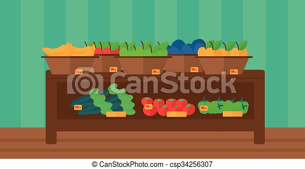 Background of vegetables and fruits on shelves in supermarket. - csp34256307