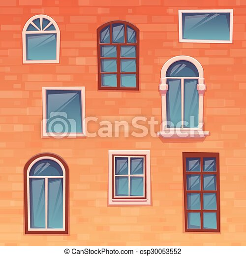 Background of wall with windows. Vector illustration - csp30053552