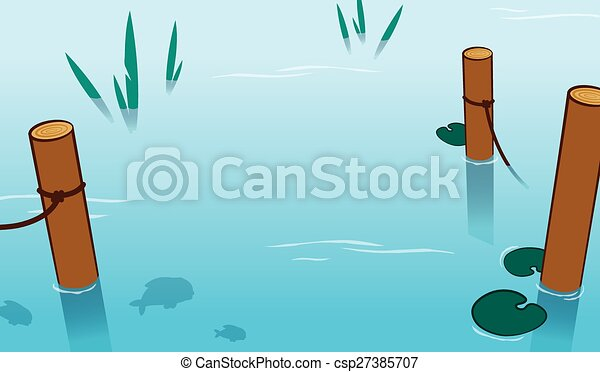 Background of water in a pond with mooring poles - csp27385707