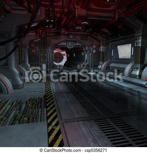 background or composing image inside a futuristic scifi spaceship - csp5356271