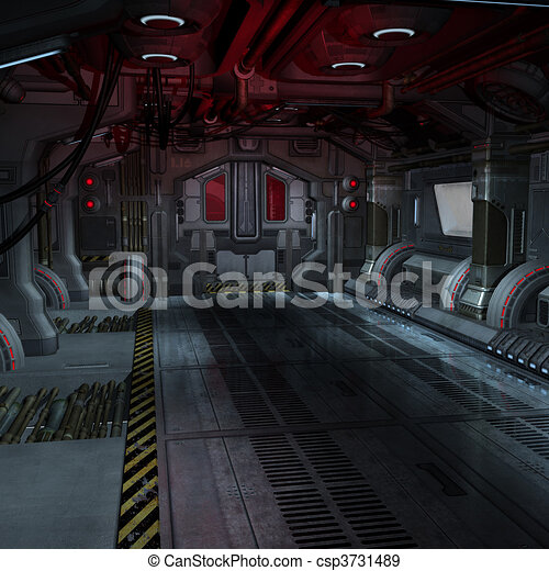 background or composing image inside a futuristic scifi spaceship - csp3731489
