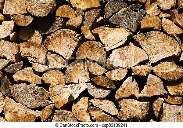 Background or texture symmetric with pieces of wood for stove fireplace . - csp83139241