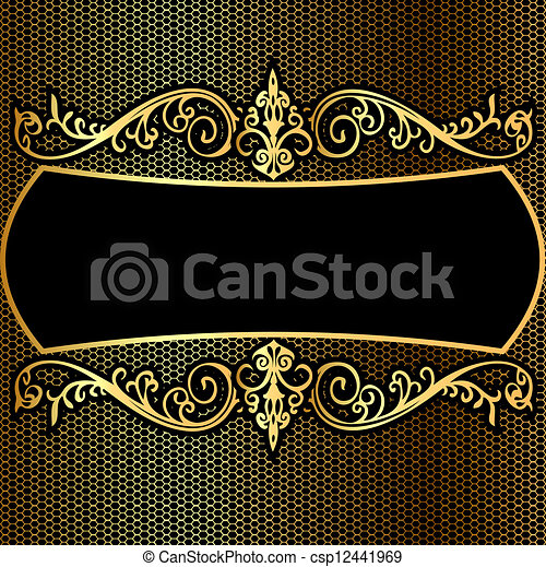 background pattern frame from gild on black background - csp12441969