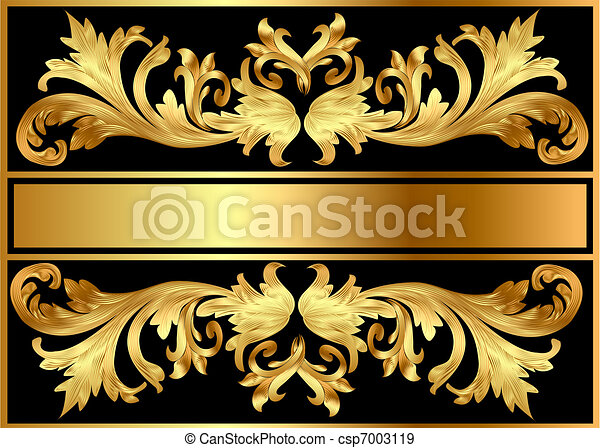 background pattern frame from gild on black - csp7003119