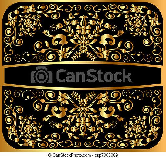 background pattern gold on black - csp7003009