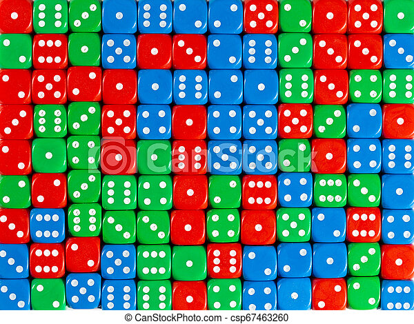 Background pattern of random ordered red, green and blue dices - csp67463260