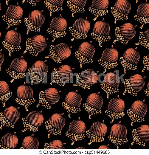 background pattern with acorn vintage engraved vector illustration (hand drawn style) - csp51449685