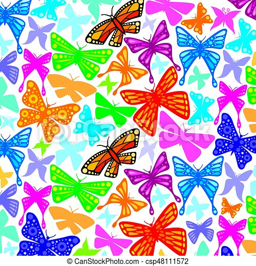 background pattern with butterflies icons - csp48111572