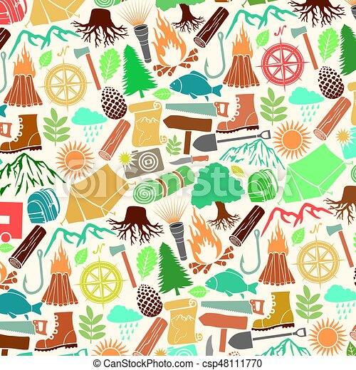 background pattern with camping icons - csp48111770