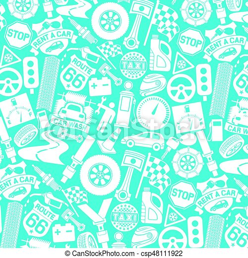 background pattern with car icons (auto and transport elements, tire track, seat belt, mechanic worker, spark plug, engine piston, taxi label, checkered flag, key) - csp48111922