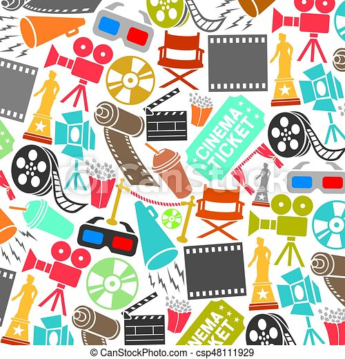 Background Pattern With Cinema Icons Film Strip Popcorn Clapboard Camera Ticket