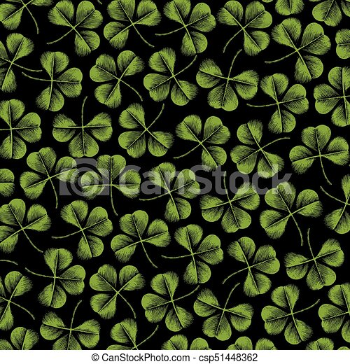 background pattern with clover with three leaf (vintage engraved vector illustration) - csp51448362
