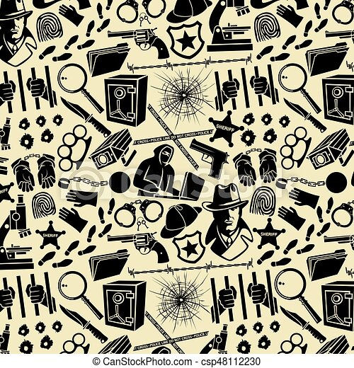 Background pattern with detective icons (Sherlock Holmes hat, hands in handcuffs, revolver, chain with shackle, bullet hole in glass, hacker, microscope, knife, magnifier, blood) - csp48112230