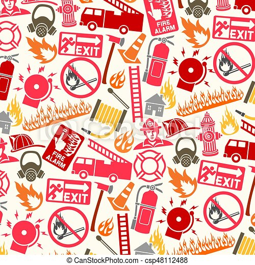 background pattern with firefighter icons and symbols - csp48112488