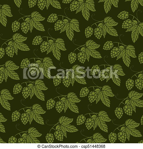 background pattern with hops with leaves (vintage engraved vector illustration) - csp51448368