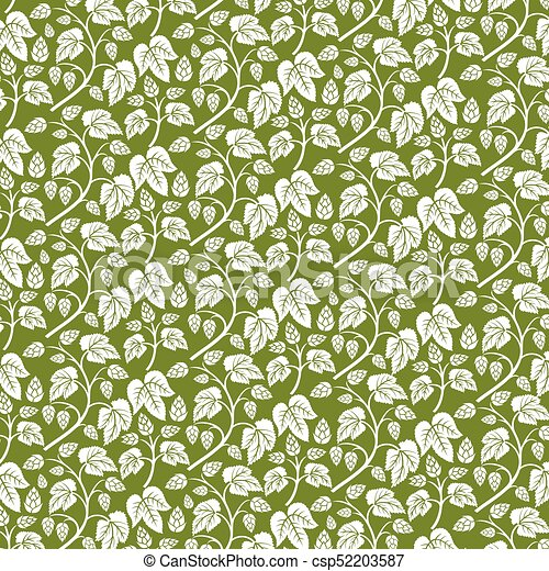 background pattern with hops with leaves (vintage engraved vector illustration) - csp52203587