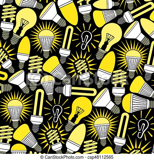 background pattern with light bulbs icons - csp48112565