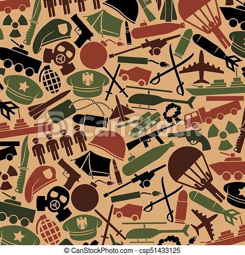 background pattern with military icons: knife, handgun, bomb, bullet, gas  mask, swords, helmet, captain hat, explosion, dynamite, tent, machine gun,