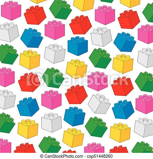 background pattern with plastic building blocks (toy construction elements vector illustration) - csp51448260