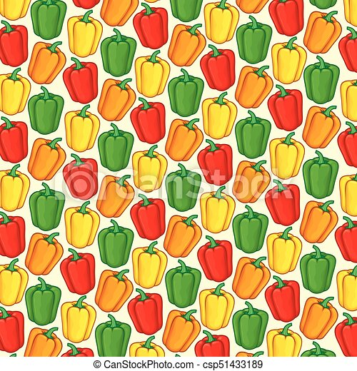 background pattern with sweet bell peppers in green, orange, red and yellow color - csp51433189