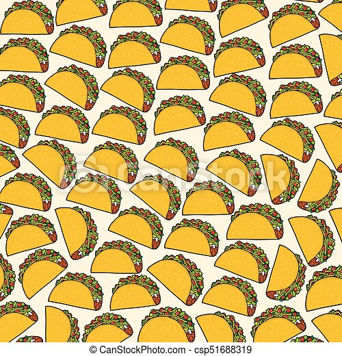background pattern with taco - mexican food - csp51688319