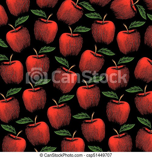 background pattern with vintage engraved vector illustration of apples - csp51449707