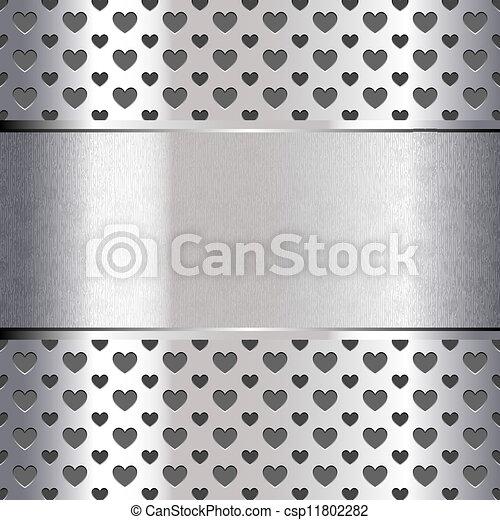 Background perforated shape heart, metallic texture - csp11802282