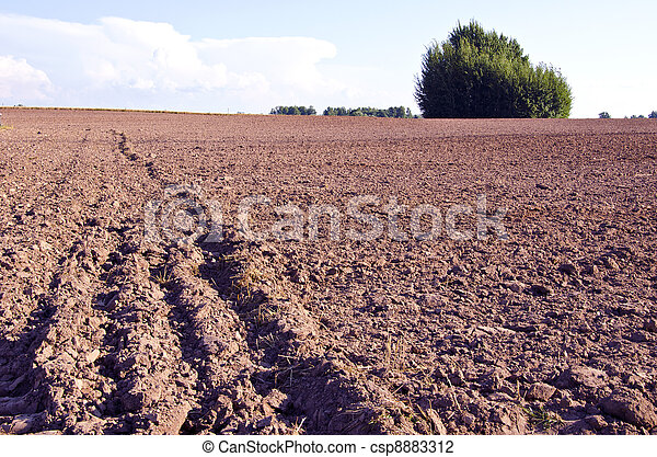 Background plow fertile ground agricultural fields  - csp8883312