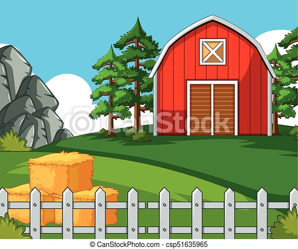 Background Scene With Barn And Hay