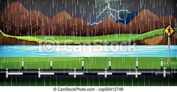 Background scene with rain on the road - csp56412748
