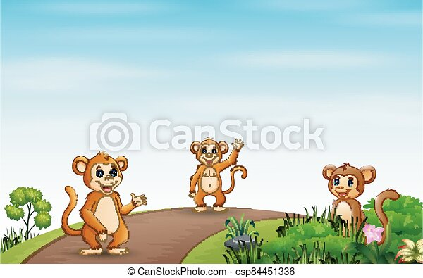 Background scene with three monkeys on the road - csp84451336