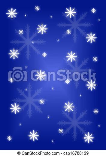 Background snowflakes on blue - csp16788139