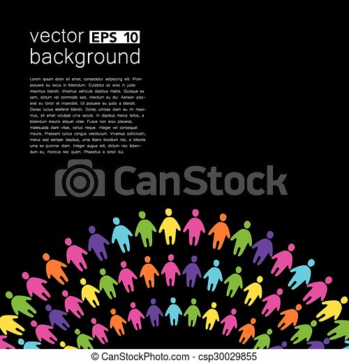 background template with colorful people - csp30029855