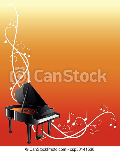 background template with grand piano illustration
