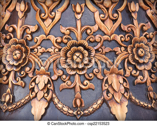Background texture of wood carving old wood thai pattern handmade
