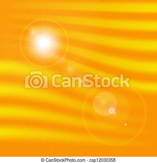 Background texture with warm sun and lens flare - csp12030358