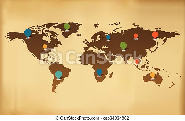 Background vector world map with icons clip art vector search background vector world map with icons gumiabroncs Images