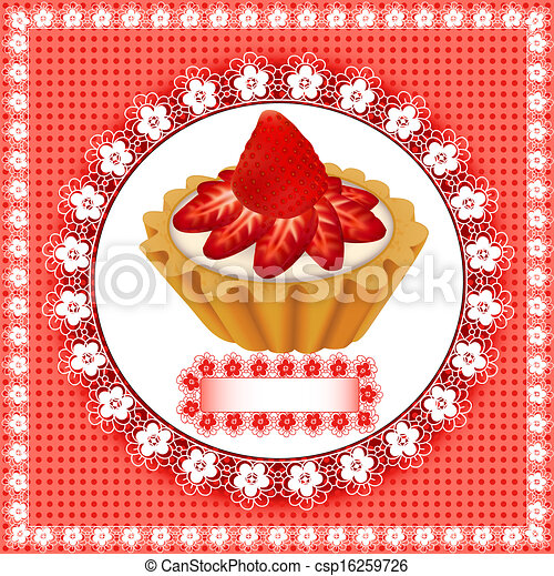 background with a fruity dessert cake with strawberries - csp16259726