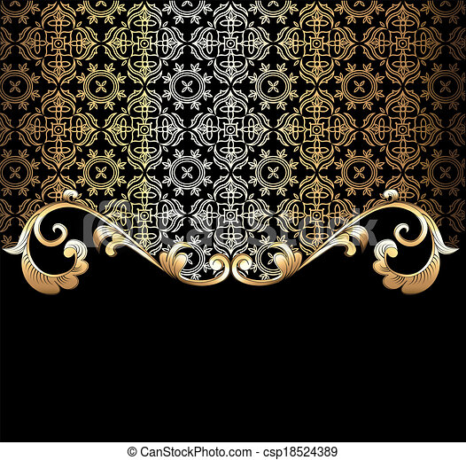 background  with a gold vegetative ornament  - csp18524389