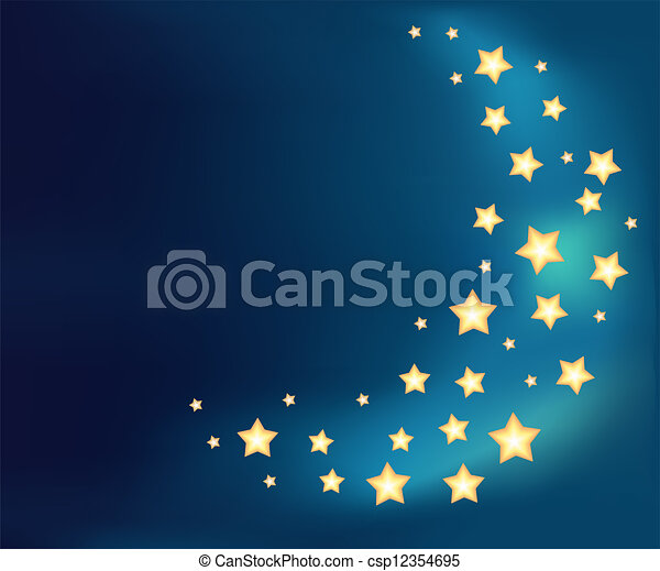 Background with a moon made of shiny cartoon stars - csp12354695