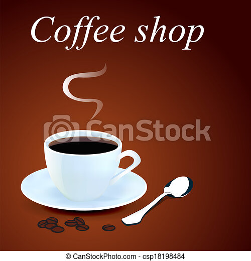 background with a mug of coffee and grains - csp18198484