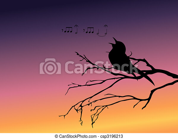 Background with a silhouette of a singing bird - csp3196213