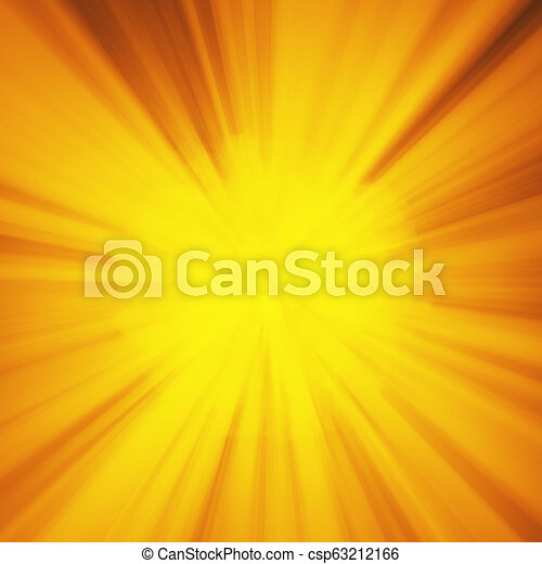 Background with abstract explosion or hyperspeed warp sun God rays. Bright orange yellow light strip burst, flash ray blast. Illustration with copyspace for your text - csp63212166
