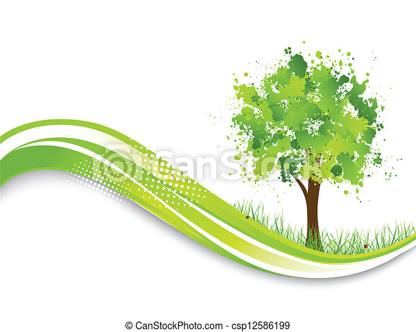 Background with abstract green tree - csp12586199