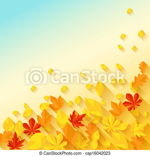 Background with autumn leaves in flat design style. - csp16042023