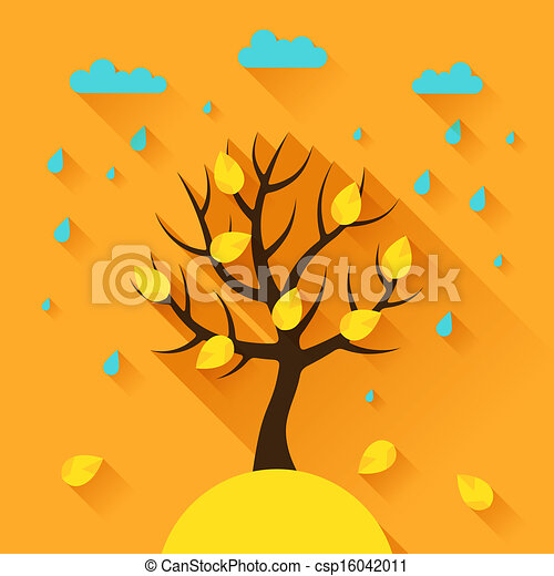 Background with autumn tree in flat design style. - csp16042011