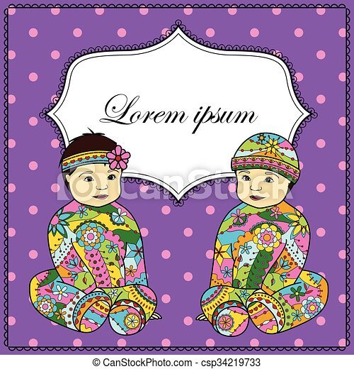 Background with baby girl and boy twins - csp34219733